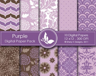 Purple Paper Pack - 10 Printable Digital Scrapbooking papers - 12 x12 - 300 DPI
