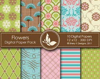 Flowers Paper Pack - 10 Printable Digital Scrapbooking papers - 12 x12 - 300 DPI