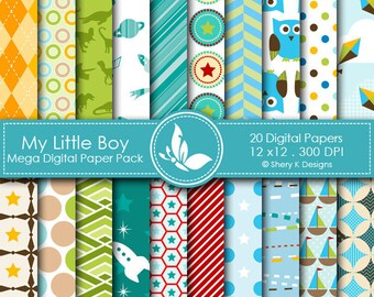 My Little Boy Paper Pack - 20 Printable Digital Scrapbooking papers - 12 x12 - 300 DPI