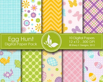 Egg Hunt Paper Pack - 10 printable Digital Scrapbooking papers - 12 x12 - 300 DPI