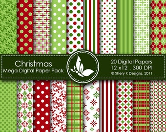 Christmas Mega Paper Pack - 20 Printable Digital scrapbooking papers - 12 x12 - 300 DPI