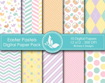 Easter Pastels Paper Pack - 10 printable Digital Scrapbooking papers - 12 x12 - 300 DPI