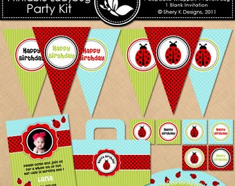Printable Ladybug Birthday Party Kit- 9 banners- 12 cupcake toppers - 1 wrappers- 1 favors bag, 1 blank invitation- 2 font