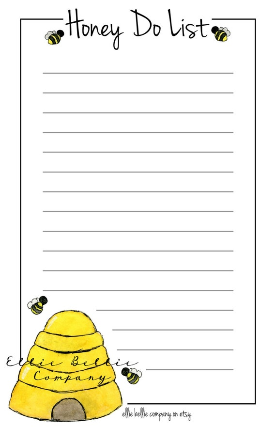 image regarding Honey Do List Printable identify Solutions comparable towards Watercolor Printable Honey Do Listing upon Etsy
