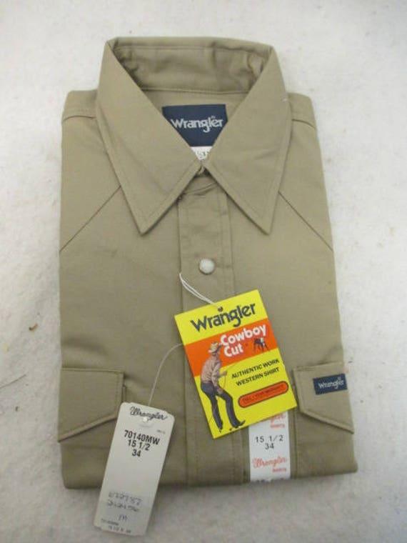 New Wrangler men's cowboy cut long sleeve western shirt khaki tan sz 15 12 34