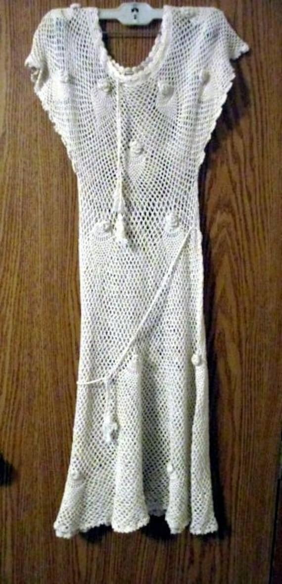 Hand crochet ivory color party dress, size small c