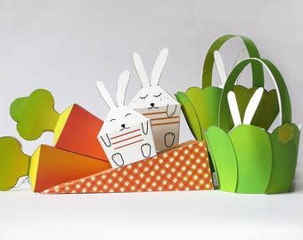 DIY Printable EASTER BUNNY Rabbit Easter Basket Carrots treats boxes  Decor Paper Craft Kit- Diy-Paper Toy Easter decoration Ornament Spring
