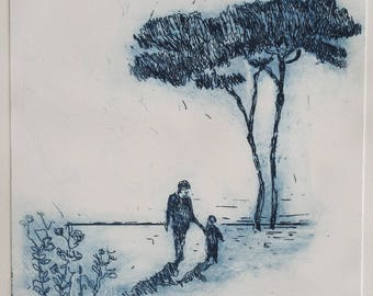 Large Original Etching, under a tree , blue nature etching, landscape, portrait, illustration