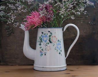 Large French Antique Rose Flowers Enamel Coffee Pot, shabby chic pastel decor