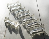 Set of 8 Six antique french knife rests, glass, refined shape