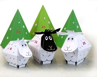 ADVENT CALENDAR -25 little Sheep and décor Paper Craft Kit- Diy-Paper Toy-Holidays décor- PRINTABLE pdf- Christmas Ornament
