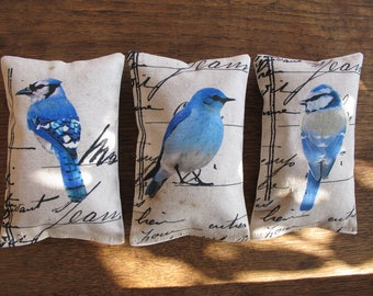 3 organic french Lavender Sachet , blue birds collection, scented sachets, mini pillows