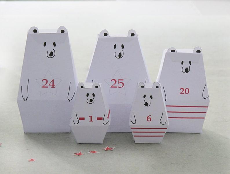 ADVENT CALENDAR 25 little Polar Bears and décor Paper Craft image 0