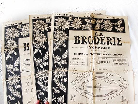 Set aus 3 Französisch Vintage Stickerei Muster Zeitschriften.   Etsy