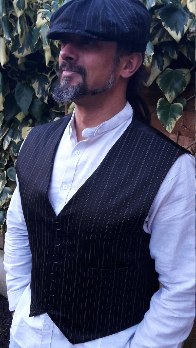 184c4529 Waistcoat and Hat Peaky Blinder Style in Blk/Wht Pinstripe | Etsy