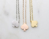 Simple Spade Necklace Cute Spade Necklace Lovely Spade Necklace Bridesmaid Gift Dainty Necklace Birthday Gift Gift idea -S2382-1
