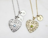 Customized Birthstone Heart Locket Personalized Heart Necklace Initial Locket Gift for mom Bridesmaid gift Gift idea -S2293-2