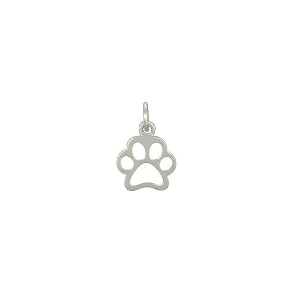 4894 Sterling Silver 15.2x10mm Openwork Paw Print Charm //1 - 1pc