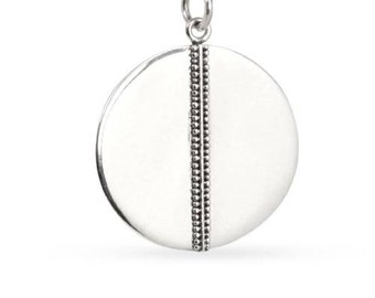 Charm, Granulated Stripe Disk, Sterling Silver, 26.4x20mm - 1 pc Wholesale Price (11216)/1