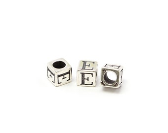 Alphabet Beads Sterling Silver 6mm Alphabet Blocks E- 1pc (3198)/1