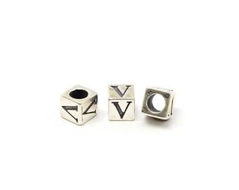 Alphabet Beads Sterling Silver 4mm Alphabet Blocks V - 1pc (3189)/1