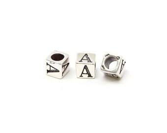 Sterling Silver 4mm Alphabet Blocks A - 1pc (3167)/1