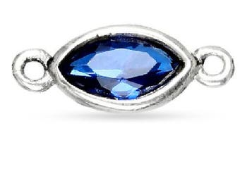 Connector, Marquise Sapphire CZ, Sterling Silver, 3x6mm - 2 Pcs Wholesale Price (11084)/1