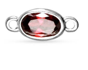Connector, Oval Garnet CZ, Sterling Silver, 3x5mm - 2 Pcs Wholesale Price (11087)/1
