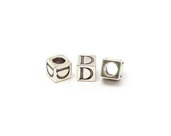 Alphabet Beads Sterling Silver 6mm Alphabet Blocks D- 1pc (3197)/1