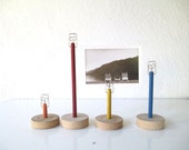 Retro Vintage Style Photo Holders, Wood Game Pieces, Table Number Holders, Set of Four Flat base