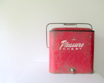 VIntage Cooler, 1950s Red Pleasure Chest, Camping Cabin