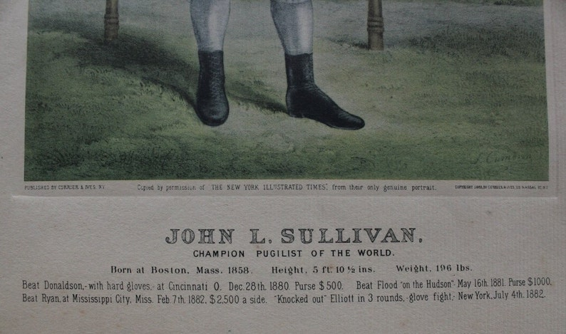 John L  Sullivan, Currier & Ives Lithograph, 1883, Boxing, Lithograph,  Collectible, Antique, Boxer, John Sullivan, Free Shipping