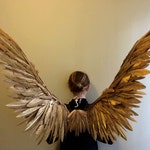 Gold  Angel Wings costume Cosplay Fairy bird