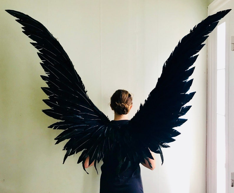 XL  black cosplay wearable maleficent angel wings image 0
