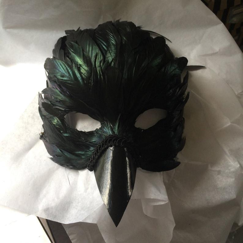 feather crow raven mask image 0