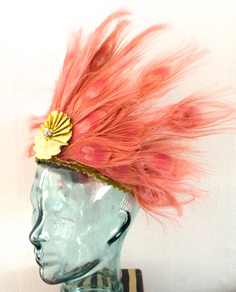 Pink Peacock feather Deco Headpiece/Headdress Flamingo Crown image 0