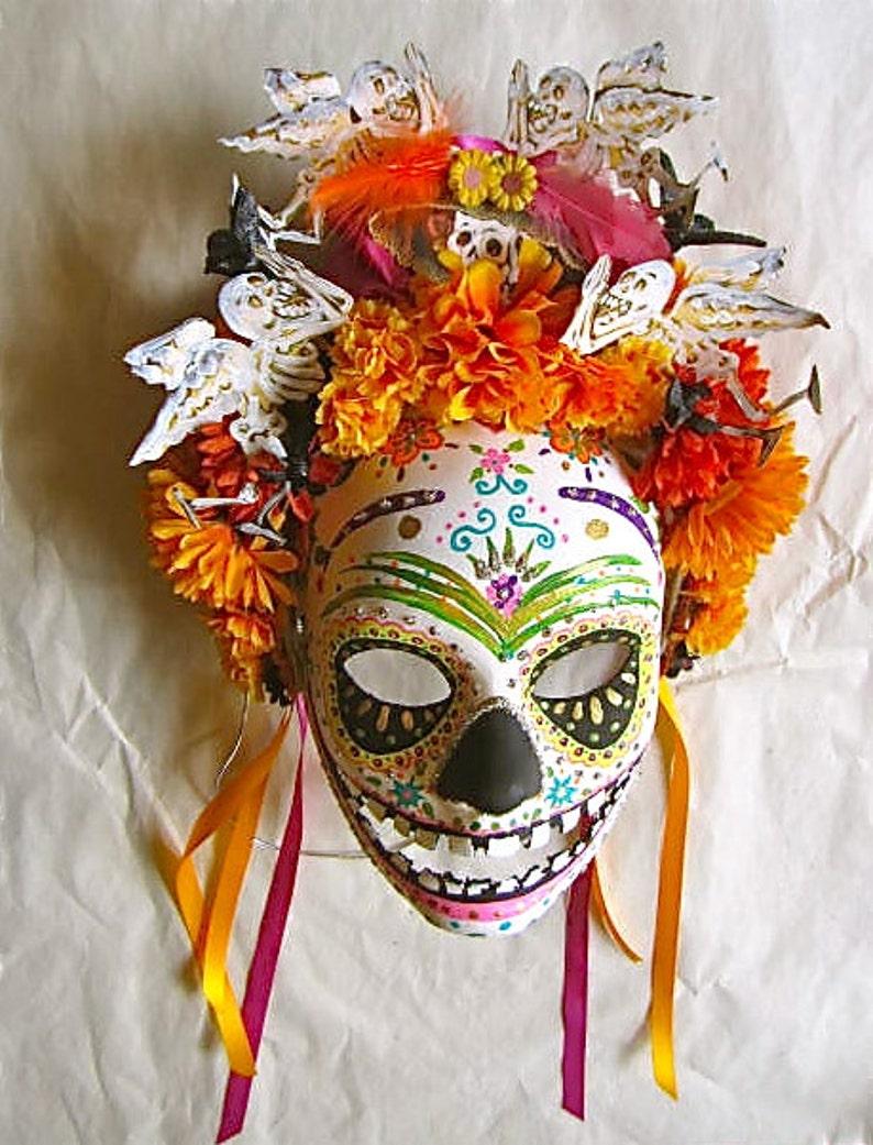 Día de los Muertos/ Day of the  Dead Mask Hand Painted image 0