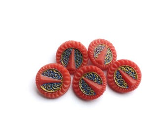 6 Antique French Red, Gold, Blue Plastic Buttons, 17mm