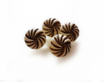 4 Brown & Beige Vintage Buttons