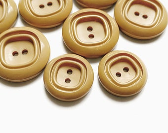 8 French Vintage Latte Brown Plastic Buttons, Assorted Sizes
