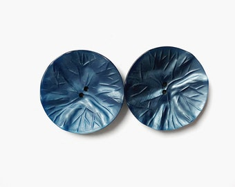 2 Large French Antique Metallic Blue Plastic Buttons, 40mm