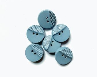 6 Vintage Pastel Blue Buttons, 18mm