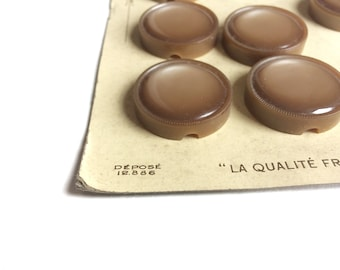 3 Large Antique Light Brown Buttons, 30mm