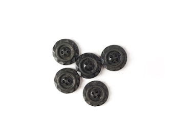 5 Grey Buttons, Charcoal, Vintage
