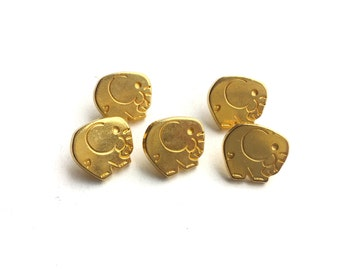 5 French Vintage Gold Metal Elephant Buttons, 15mm