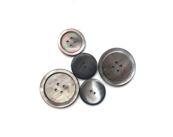 5 Assorted Large Real Mother of Pearl Iridescent Grey Buttons