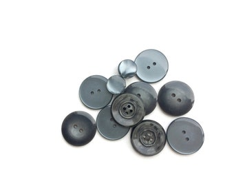 11 Assorted Plastic Iridescent Grey Buttons