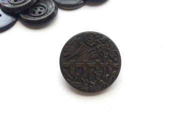 1 French Antique Collectible Metal Buttons, 27mm