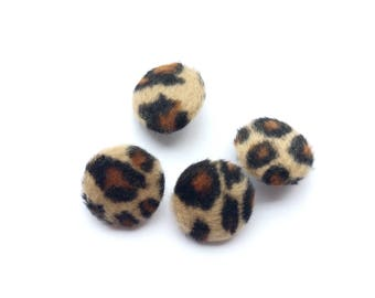 4 Leopard Fake Fur Covered Buttons, 20mm