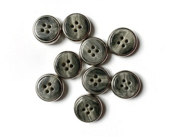 9 Vintage Marble Grey & Silver Buttons, 21mm